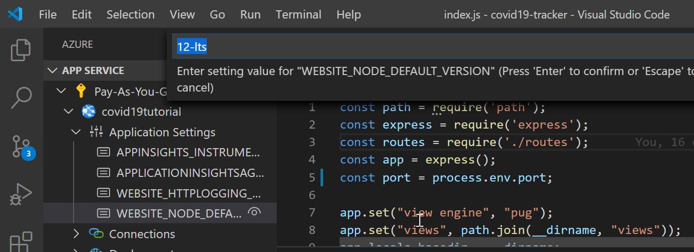 Add WEBSITE_NODE_DEFAULT_VERSION application setting