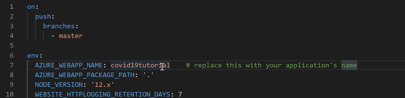 Editing the Azure YAML file