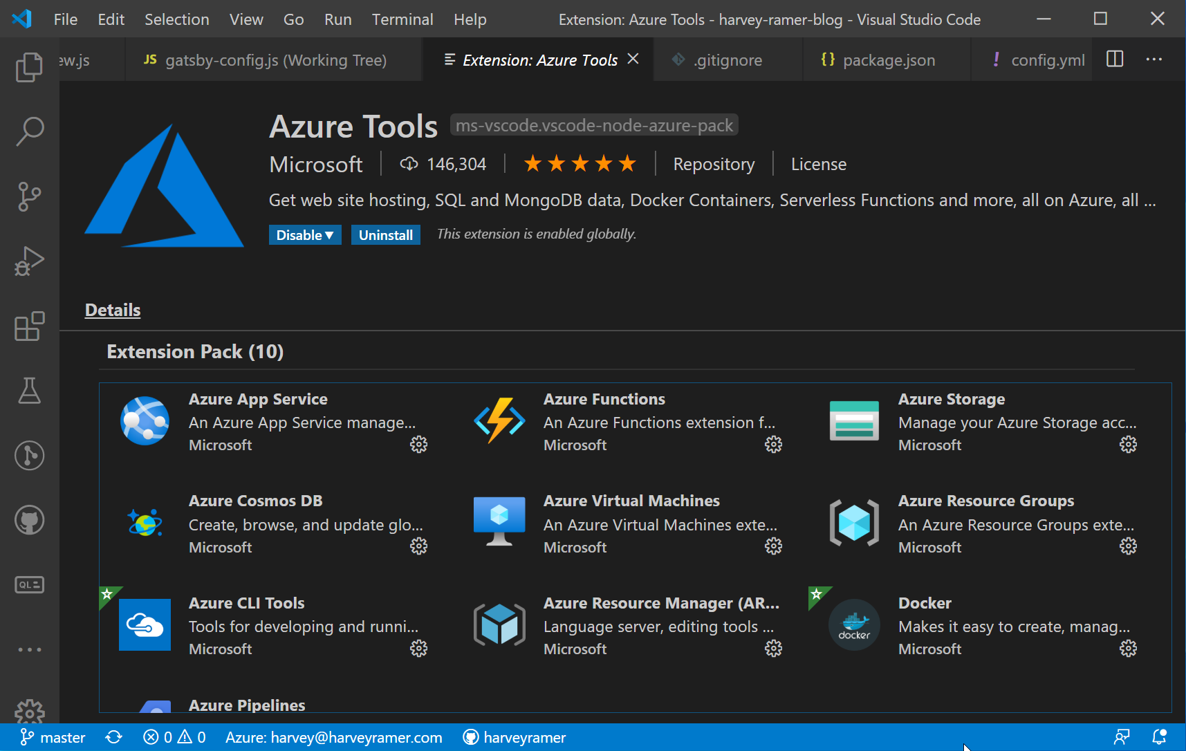 Azure App Service Extension Installed
